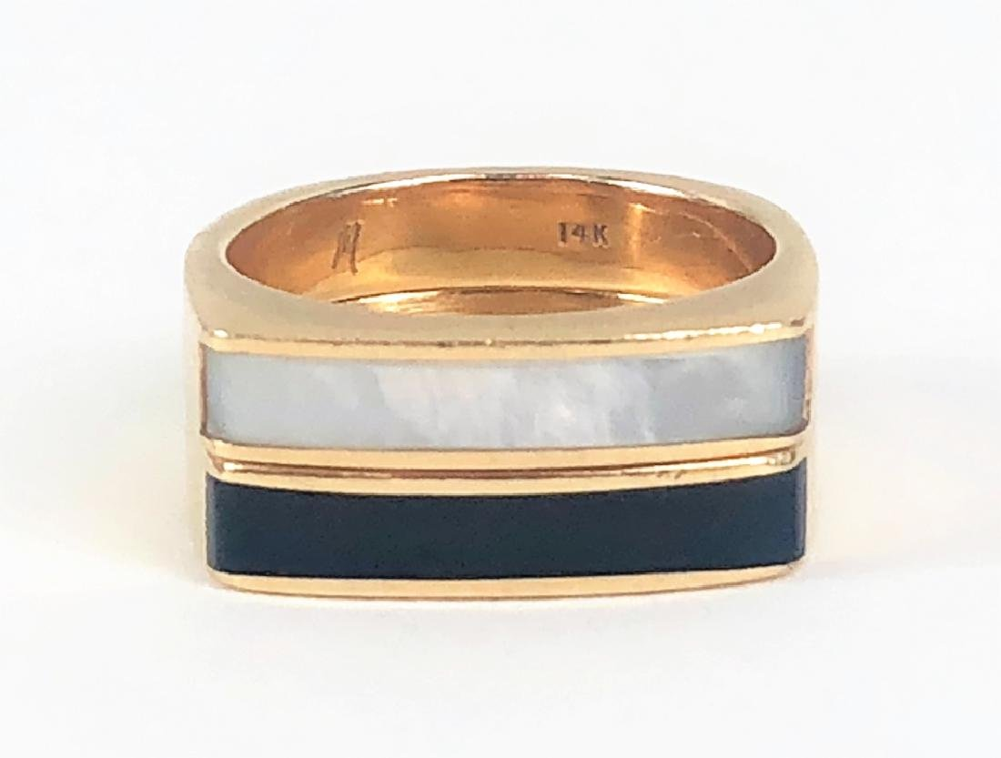 Estate 14K Gold Onyx MOP Stackable Rings