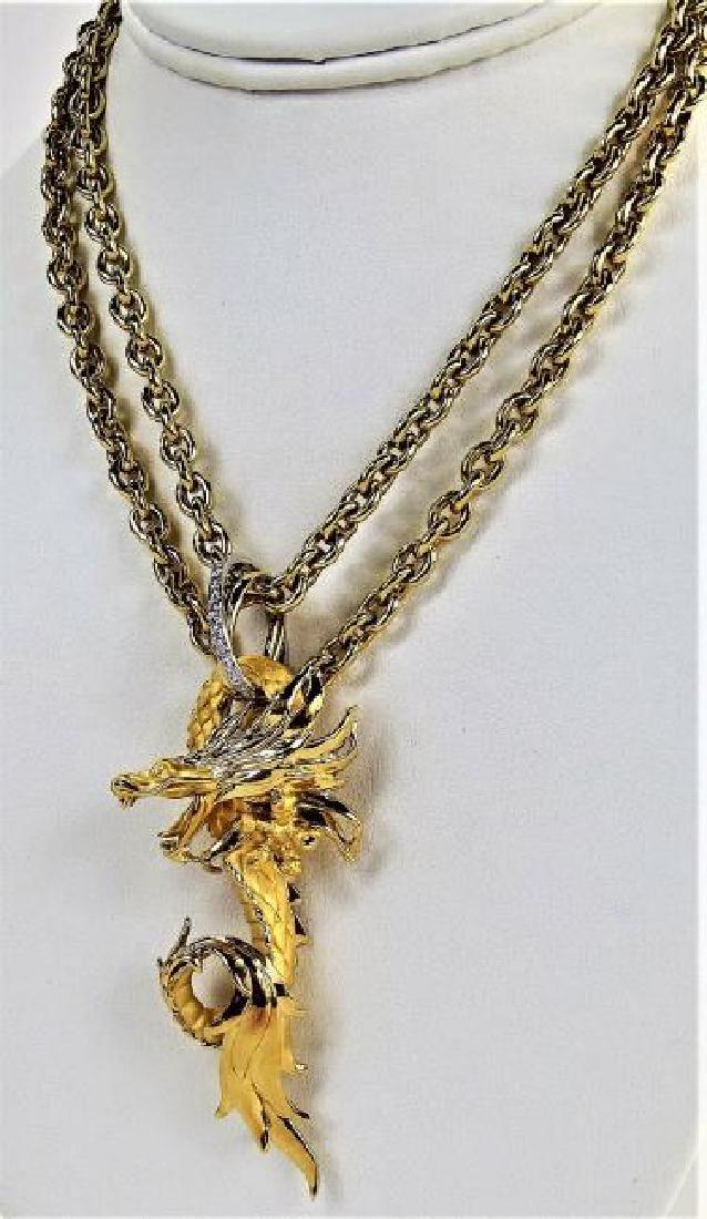 Carrera y Carrera 18K Gold Diamond Dragon Necklace