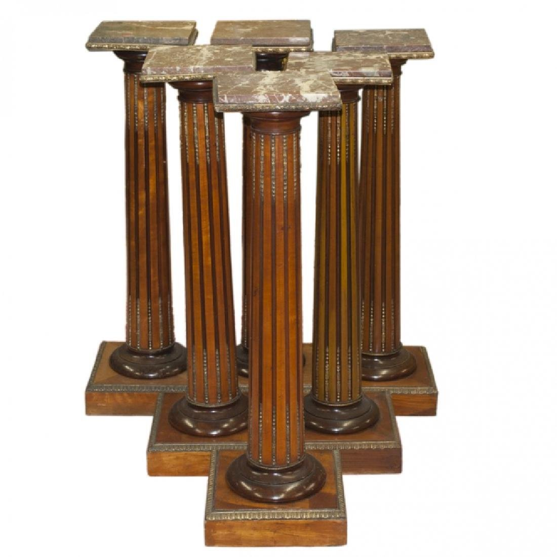Six 20th C. Wooden Bronze & Marble Top Pedestals