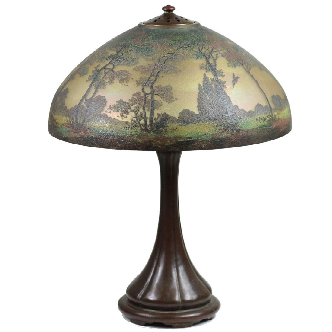 Handel Reverse Painted Art Glass Bronze Lamp #6953