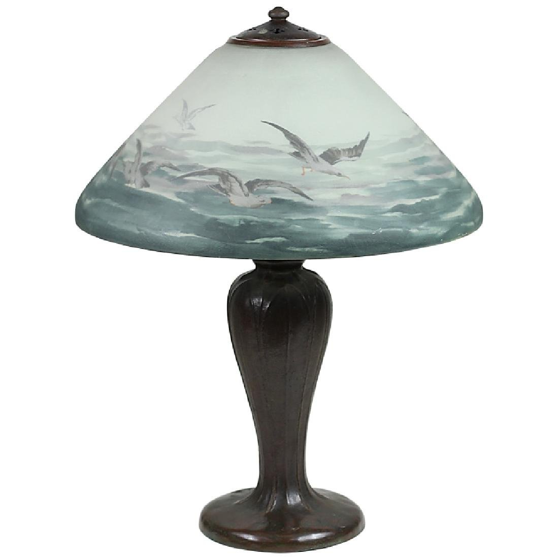 Handel Reverse Painted Art Glass Bronze Lamp #6632