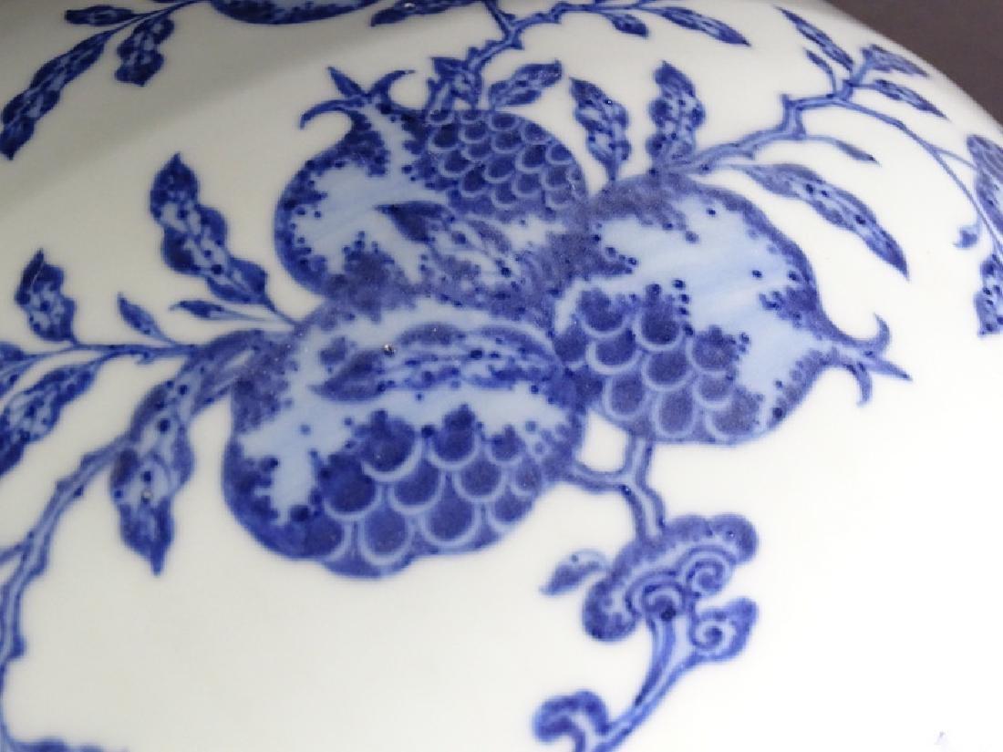 Large Chinese Blue & White Globular Porcelain Vase - 7