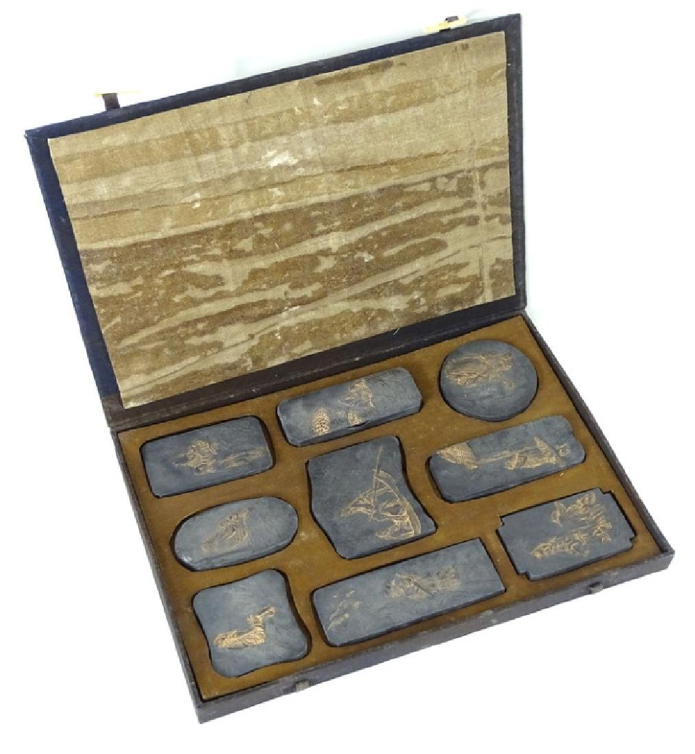 (10) TEN ANTIQUE CHINESE INK STONE