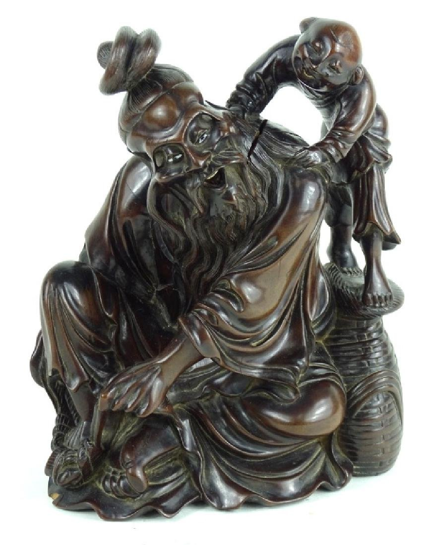 Chinese Carved Wooden Wise Man & Child Sculpture