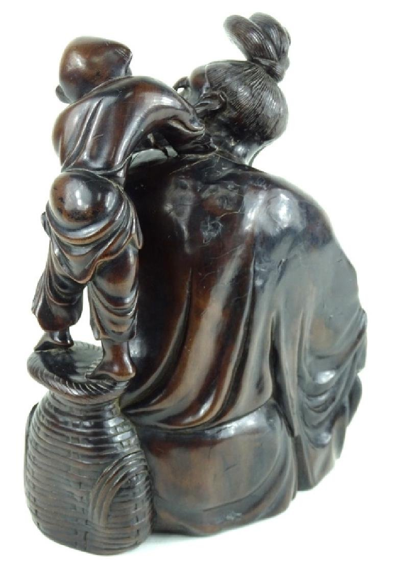 Chinese Carved Wooden Wise Man & Child Sculpture - 2