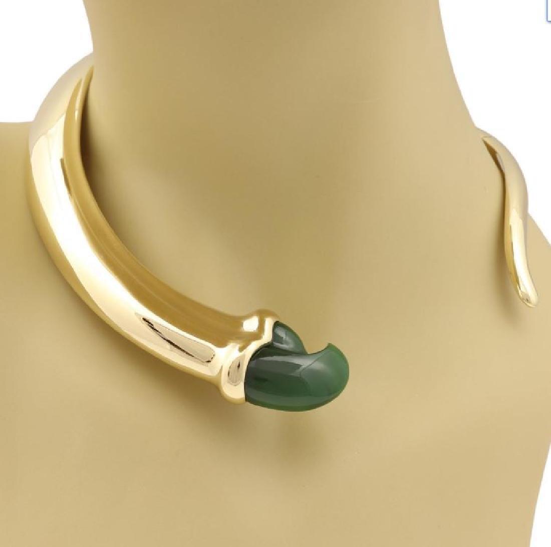 Tiffany & Co. Jade 18k Gold Claw Choker Necklace