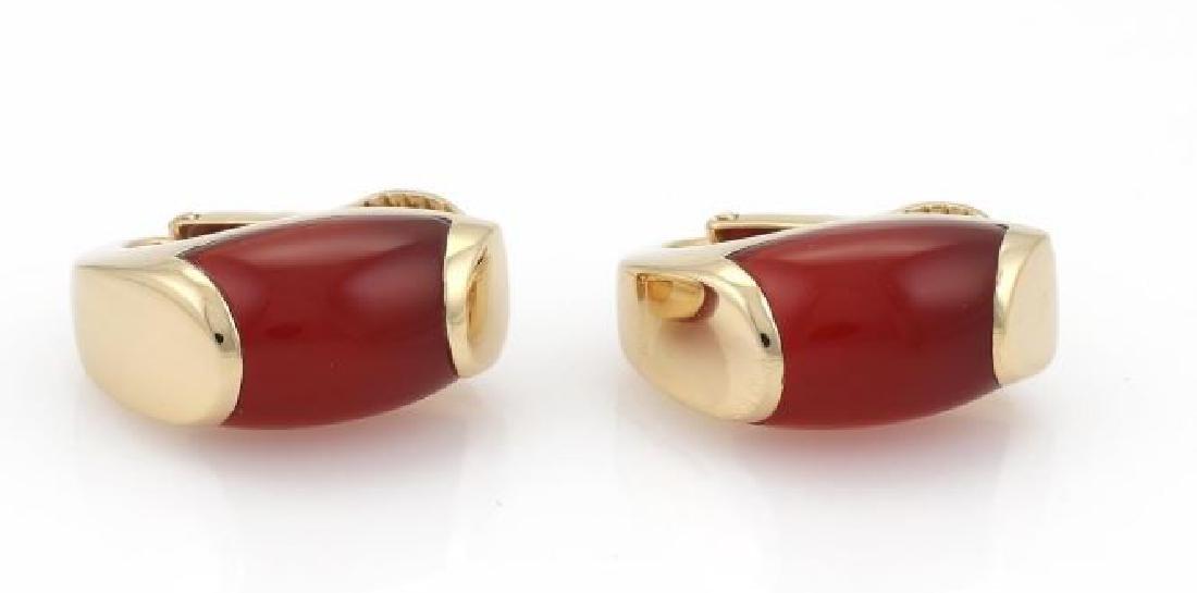 Bvlgari Tronchetto Carnelian 18k Gold Earrings