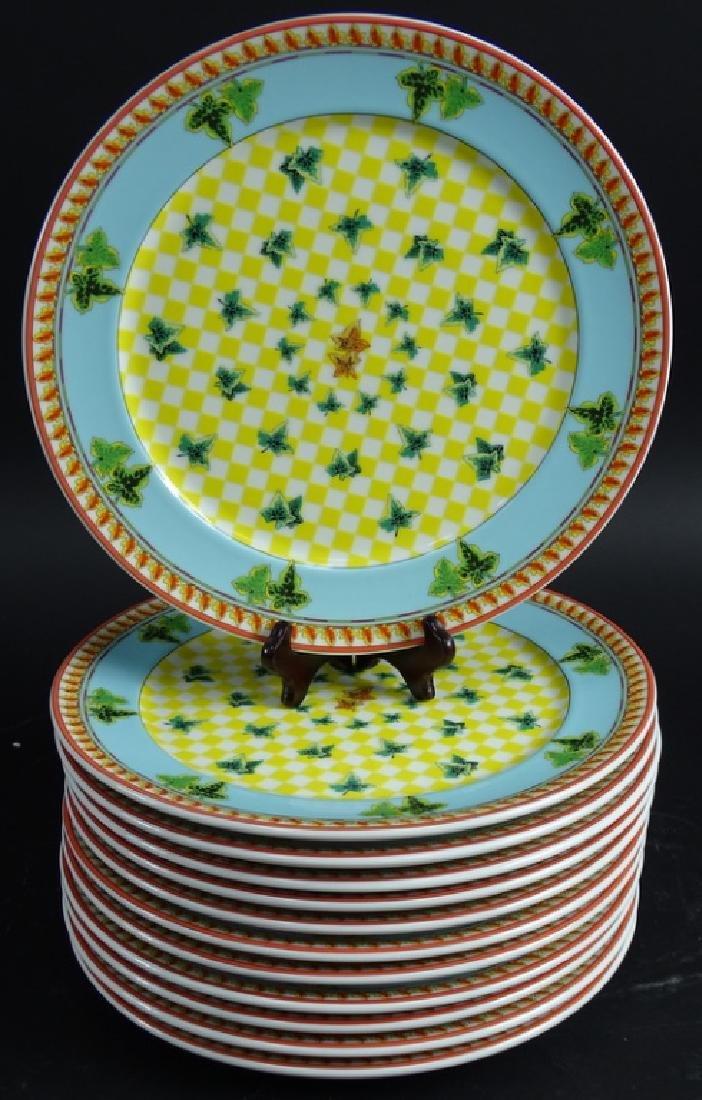 "12 Versace Rosenthal Ivy Leaf 12"" Dinner Plates"
