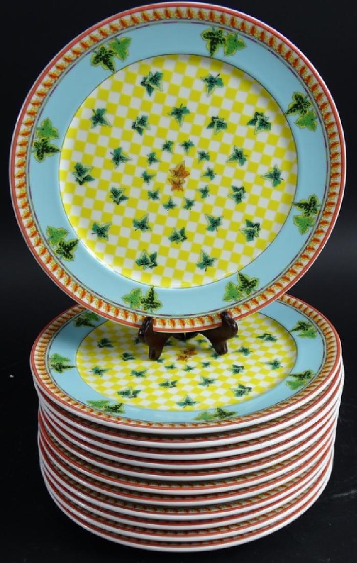 "12 Versace Rosenthal Ivy Leaf 12"" Dinner Plates - 4"