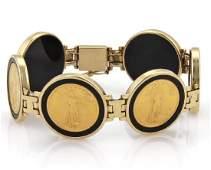 22k Liberty Gold Coin 14k Gold Onyx Link Bracelet
