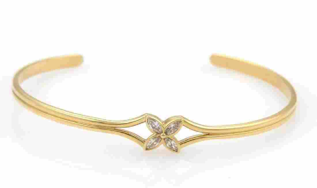 Tiffany & Co Diamond Floral 18k Gold Cuff Bracelet