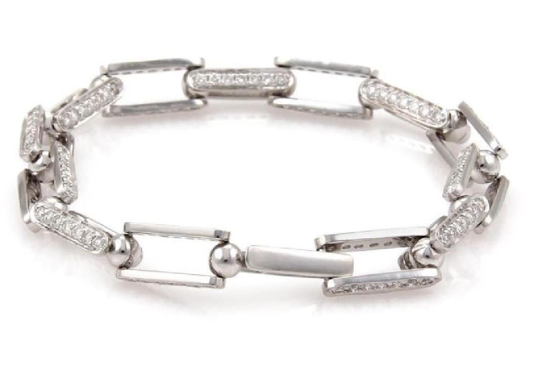 18k Gold Diamond Open Rectangular Link Bracelet