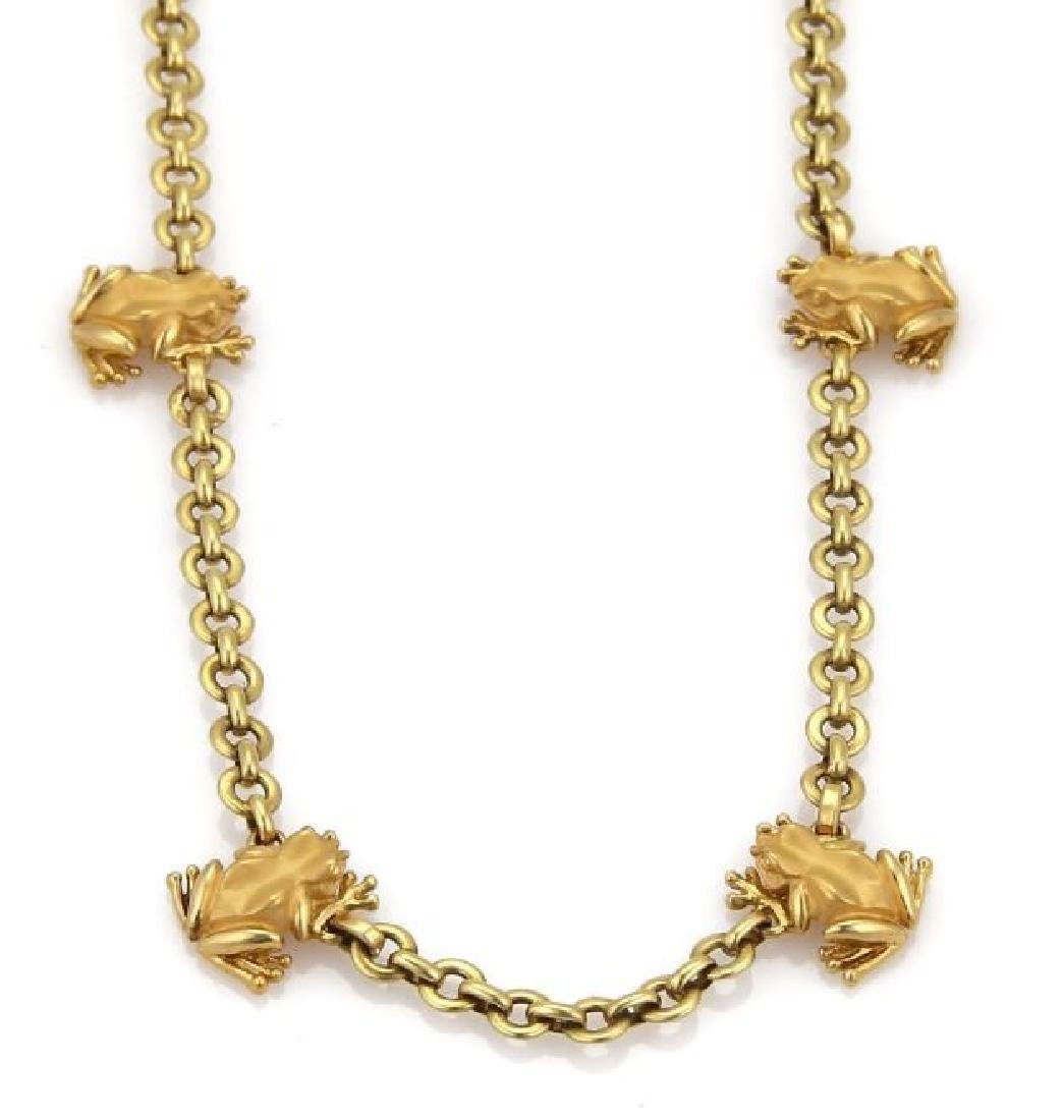 Carrera y Carrera 18k Gold Frog Charm Necklace