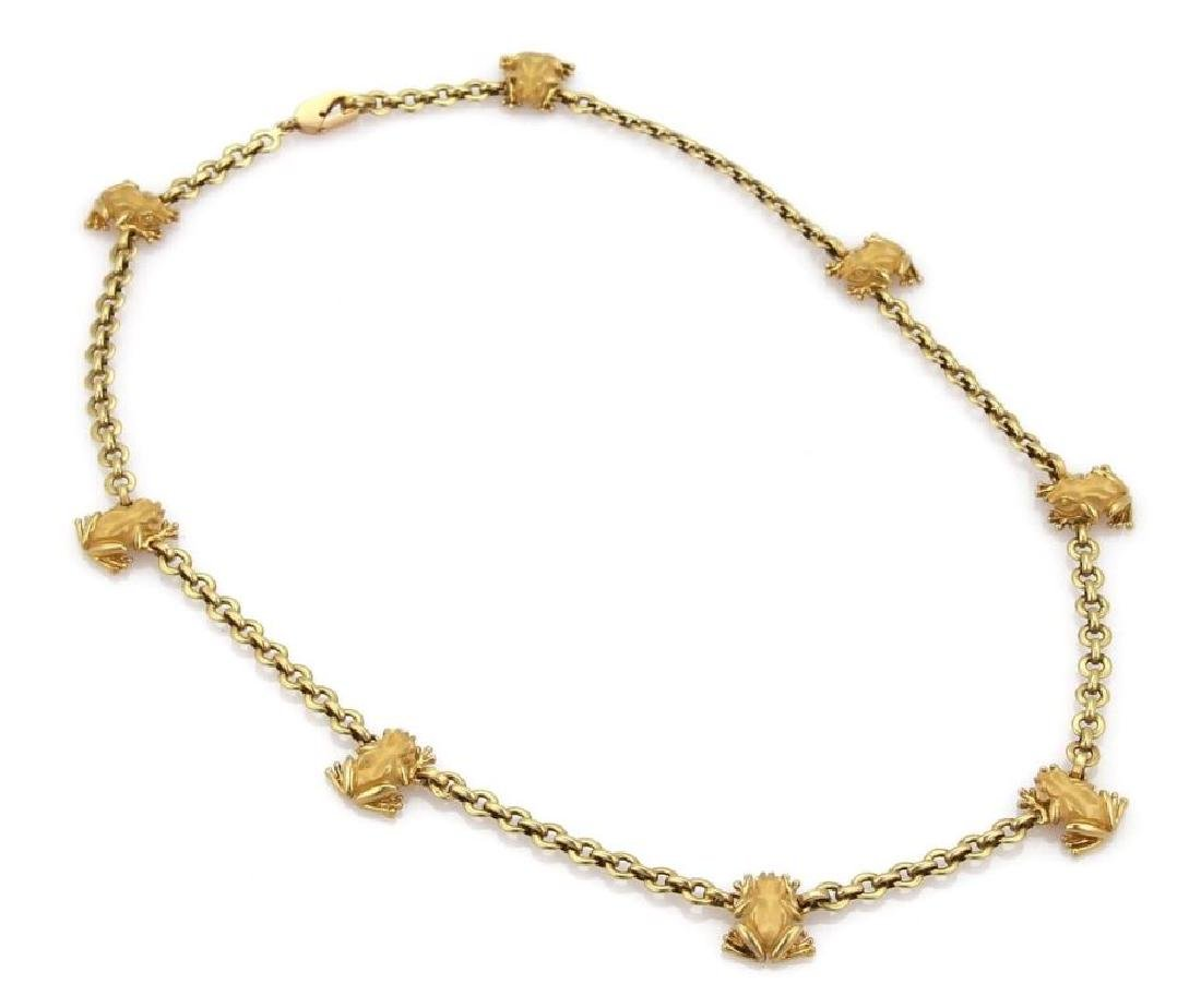 Carrera y Carrera 18k Gold Frog Charm Necklace - 3