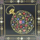 Patek Philippe Black Floral Pocket Watch Scarf