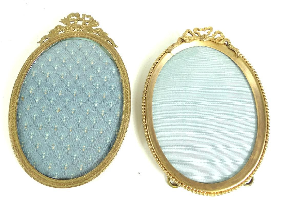 Two Round Antique French Brass Picture Frames