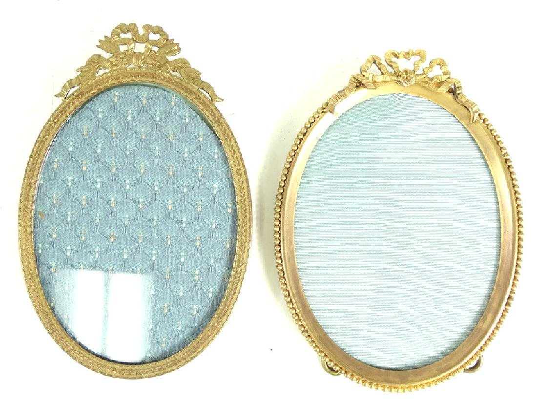 Two Round Antique French Brass Picture Frames - 2