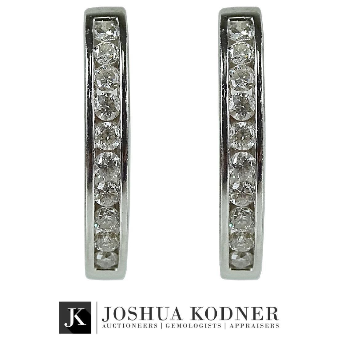 Ladies 1.75 CT Diamond Hoop Earrings.