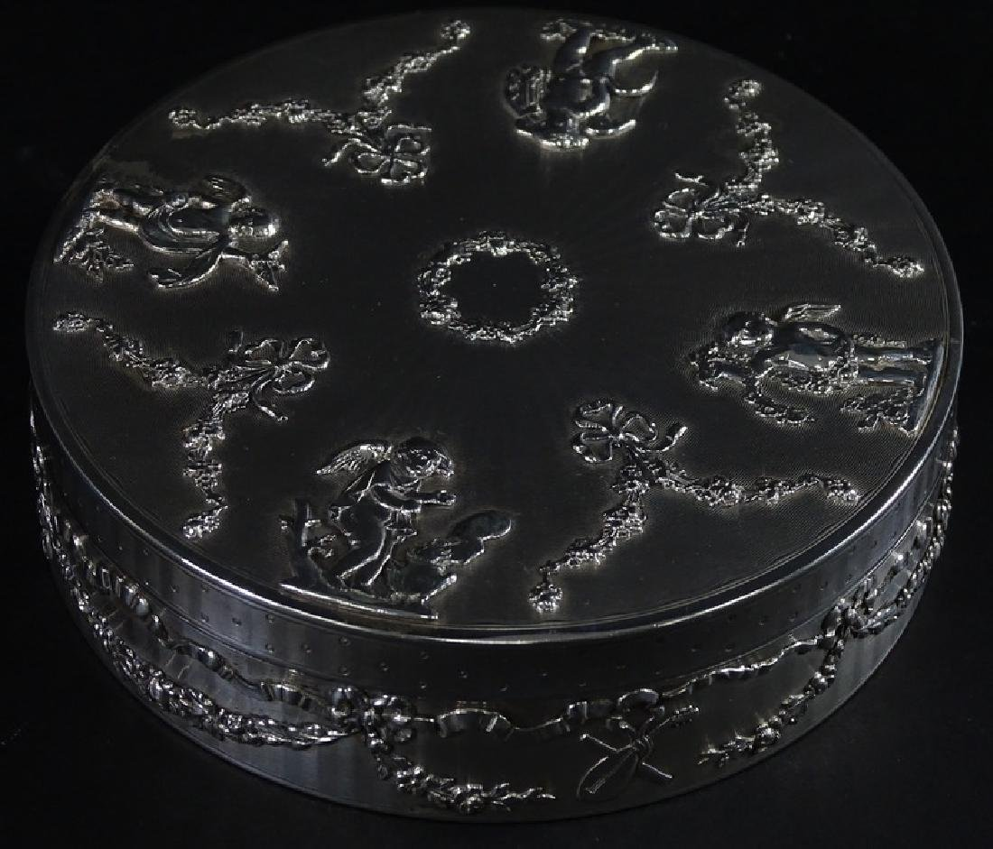 Art Nouveau French Sterling Silver Round Box