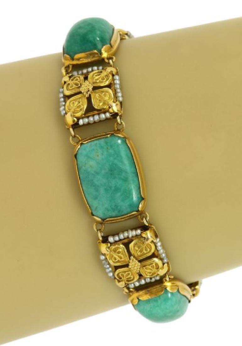 Art Nouveau Amazonite Seed Pearl 14k Gold Bracelet
