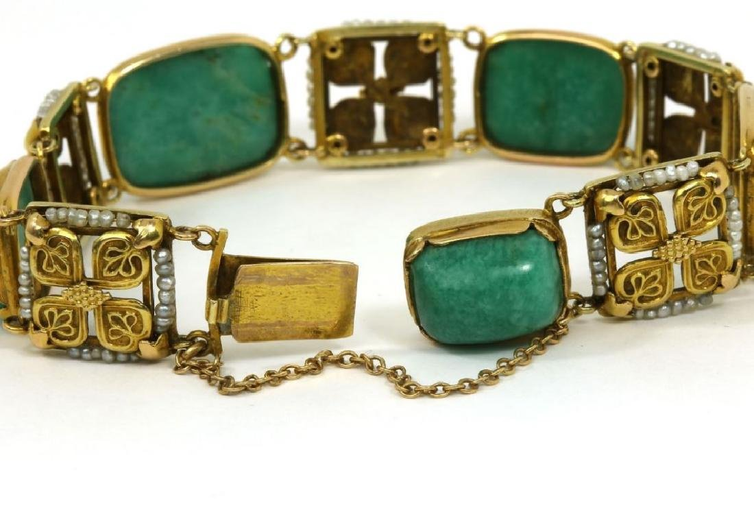 Art Nouveau Amazonite Seed Pearl 14k Gold Bracelet - 2