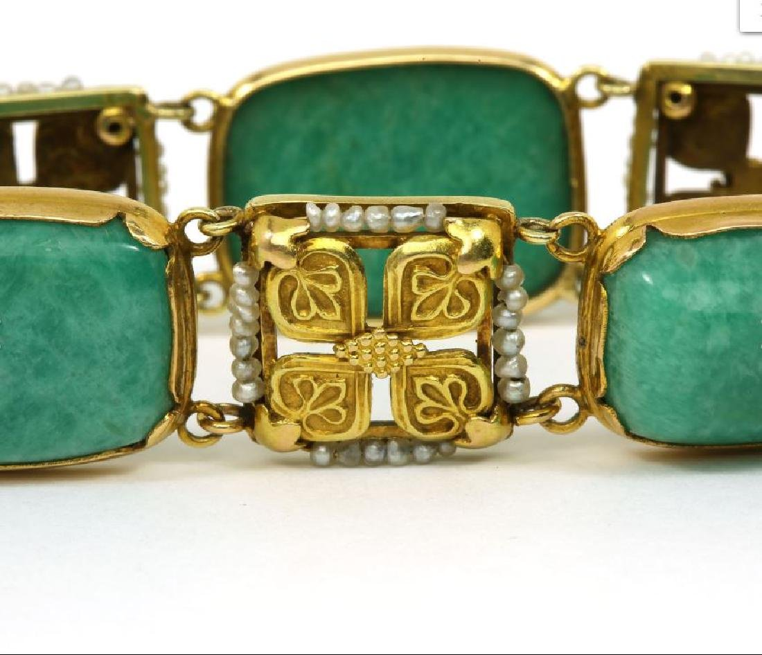 Art Nouveau Amazonite Seed Pearl 14k Gold Bracelet - 3