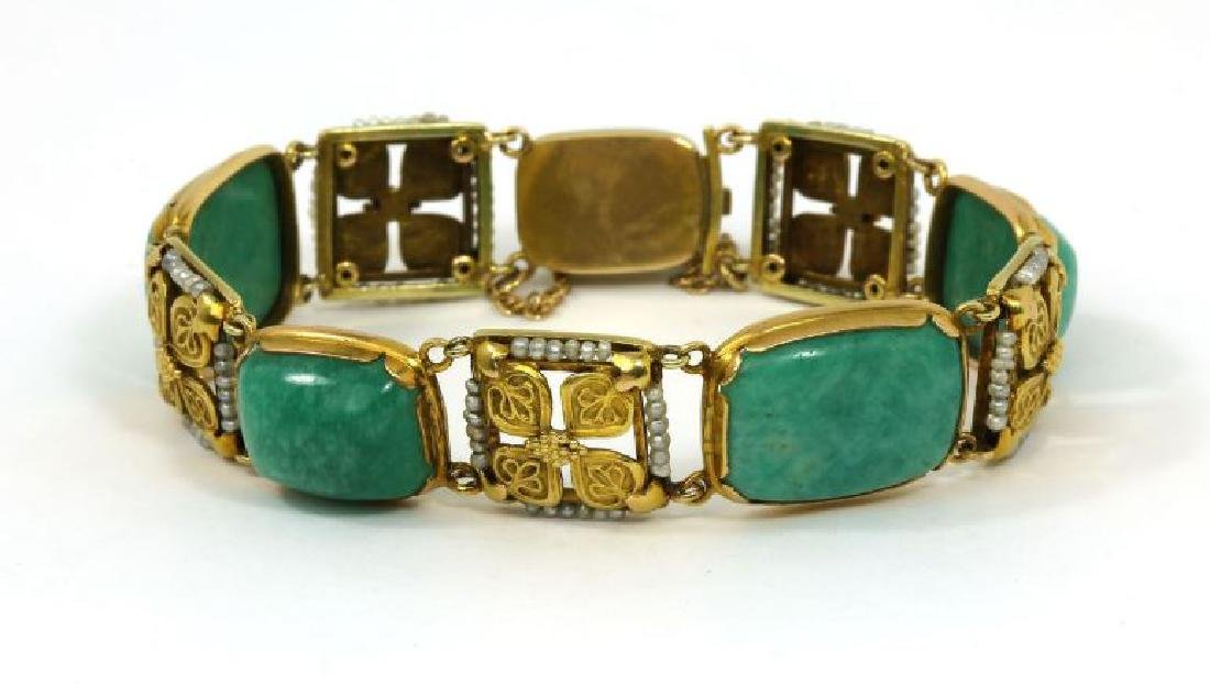 Art Nouveau Amazonite Seed Pearl 14k Gold Bracelet - 4