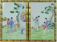 Antique Chinese Famille Rose Porcelain Plaques