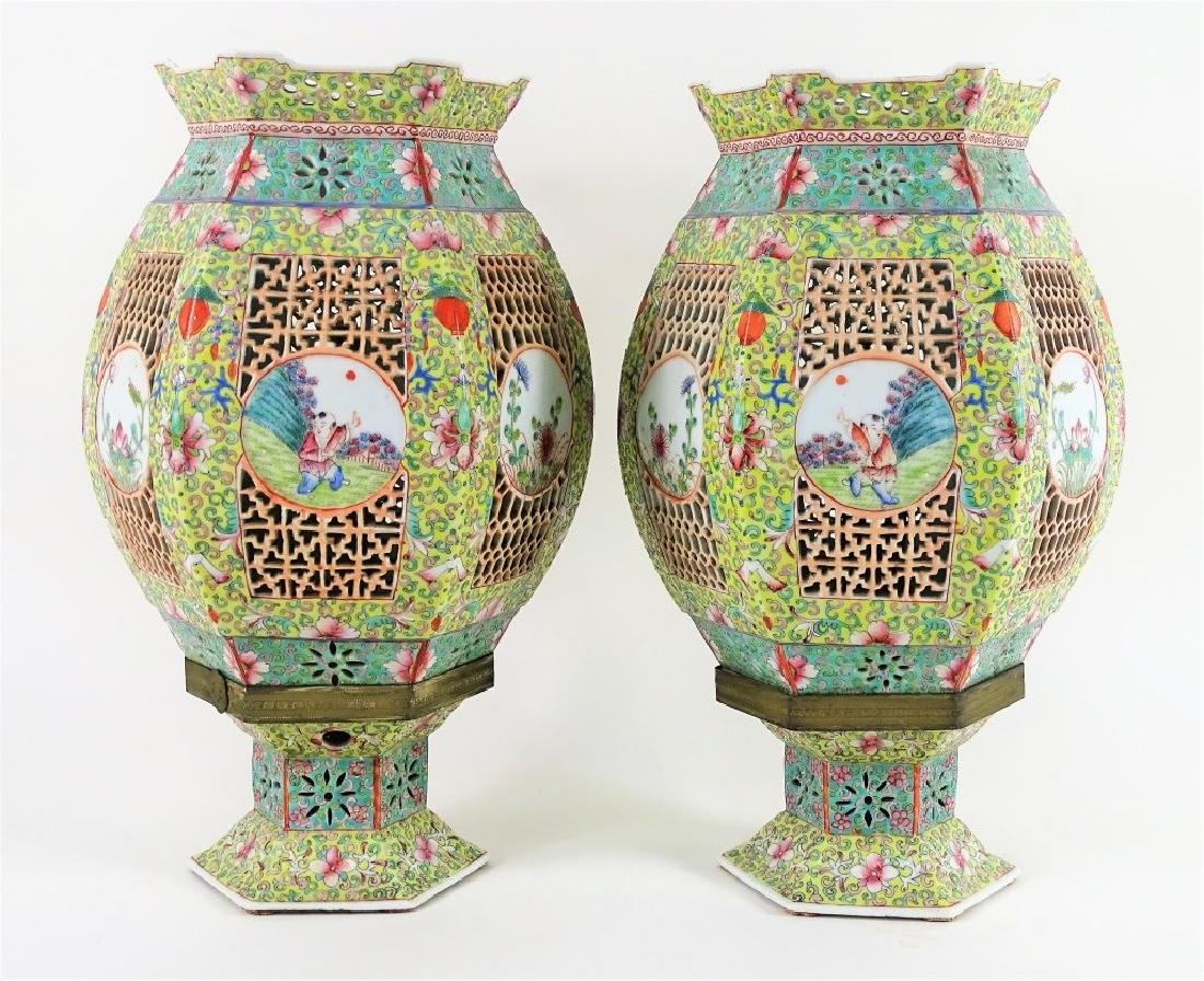 Chinese Hand Painted Hexagonal Porcelain Lanterns