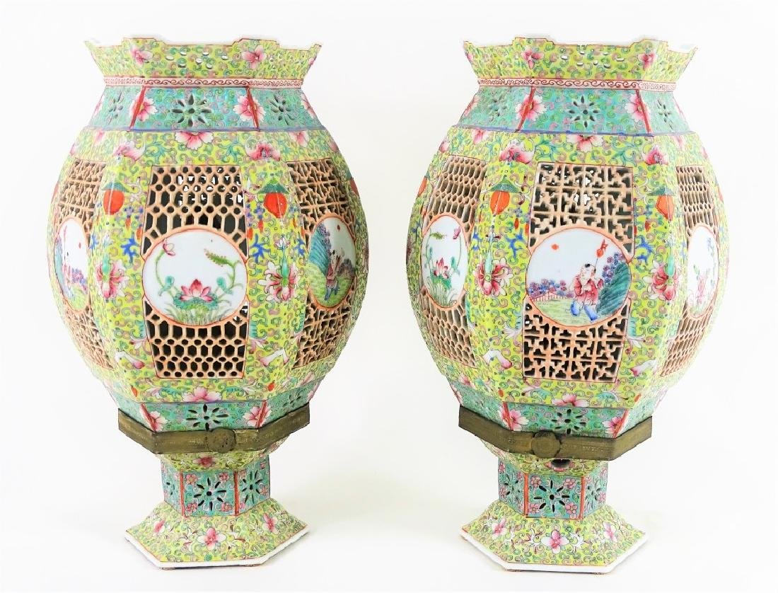 Chinese Hand Painted Hexagonal Porcelain Lanterns - 2