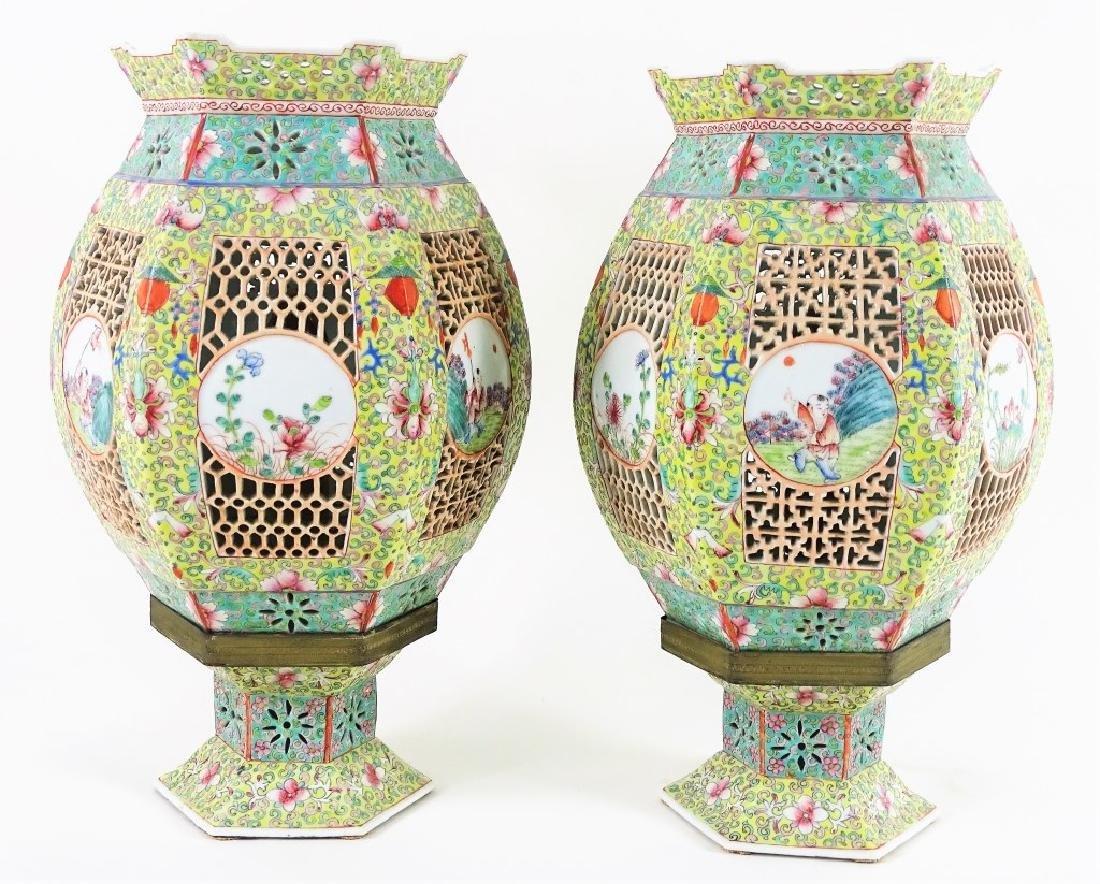 Chinese Hand Painted Hexagonal Porcelain Lanterns - 3