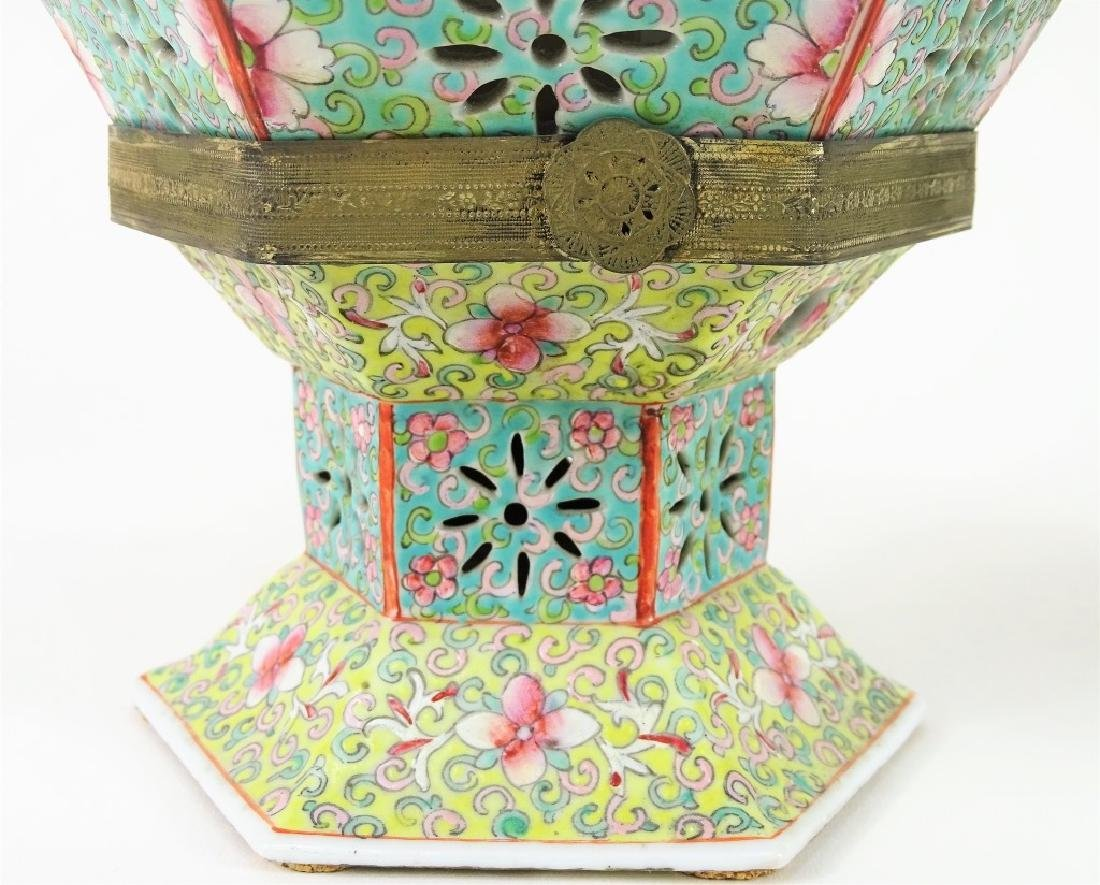Chinese Hand Painted Hexagonal Porcelain Lanterns - 4