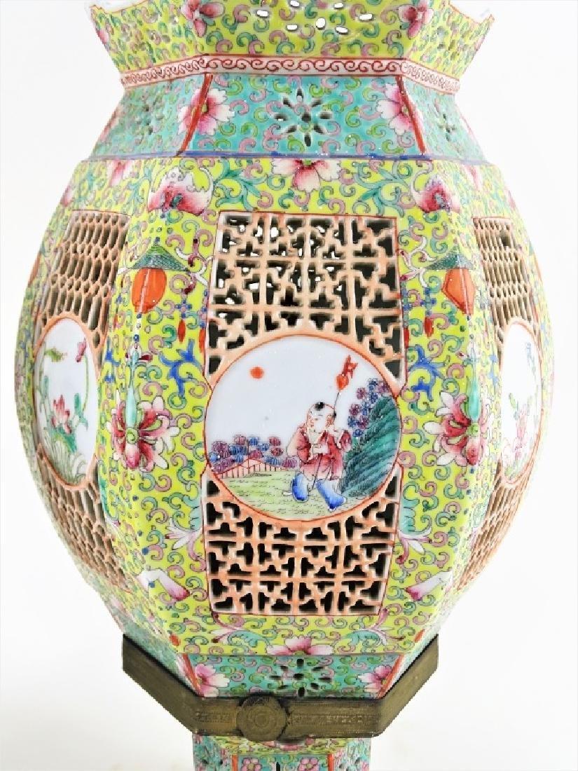 Chinese Hand Painted Hexagonal Porcelain Lanterns - 5