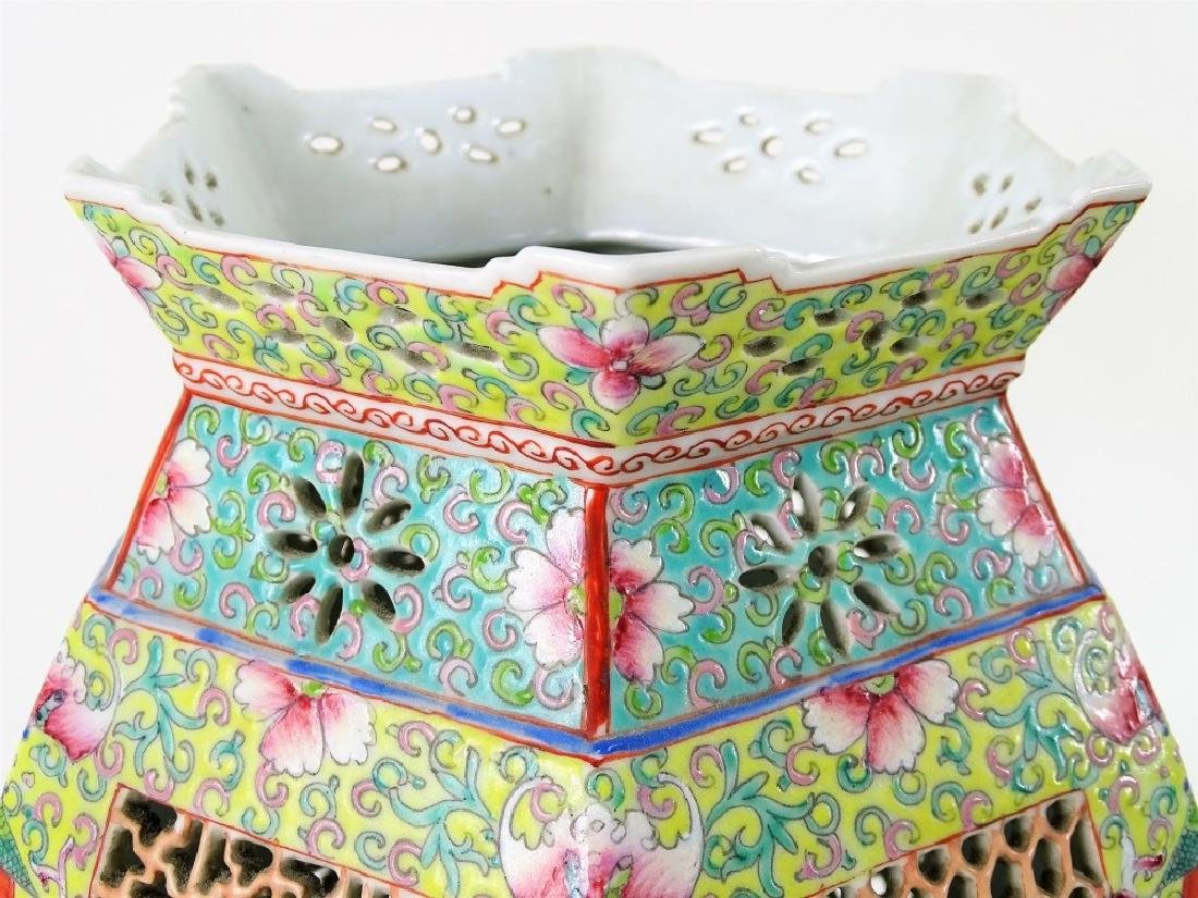 Chinese Hand Painted Hexagonal Porcelain Lanterns - 6