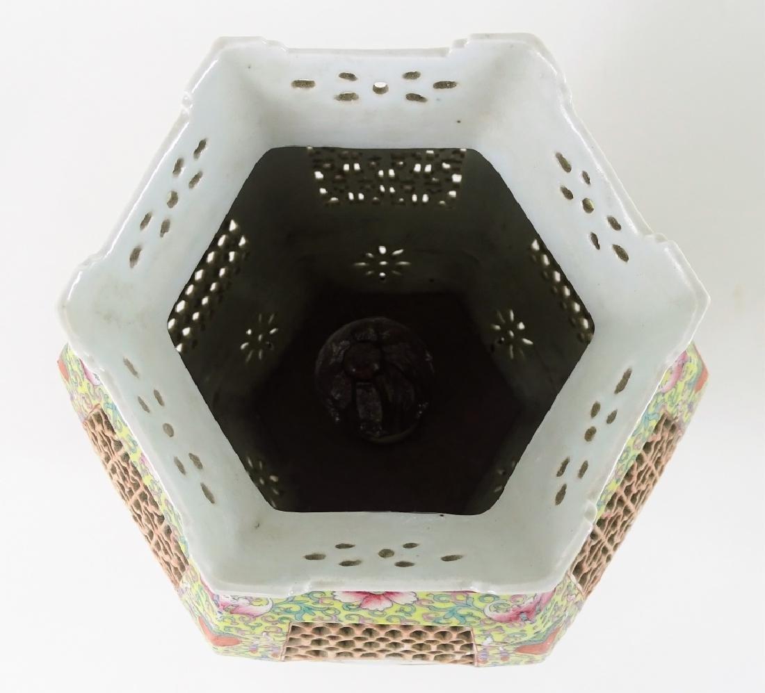 Chinese Hand Painted Hexagonal Porcelain Lanterns - 7