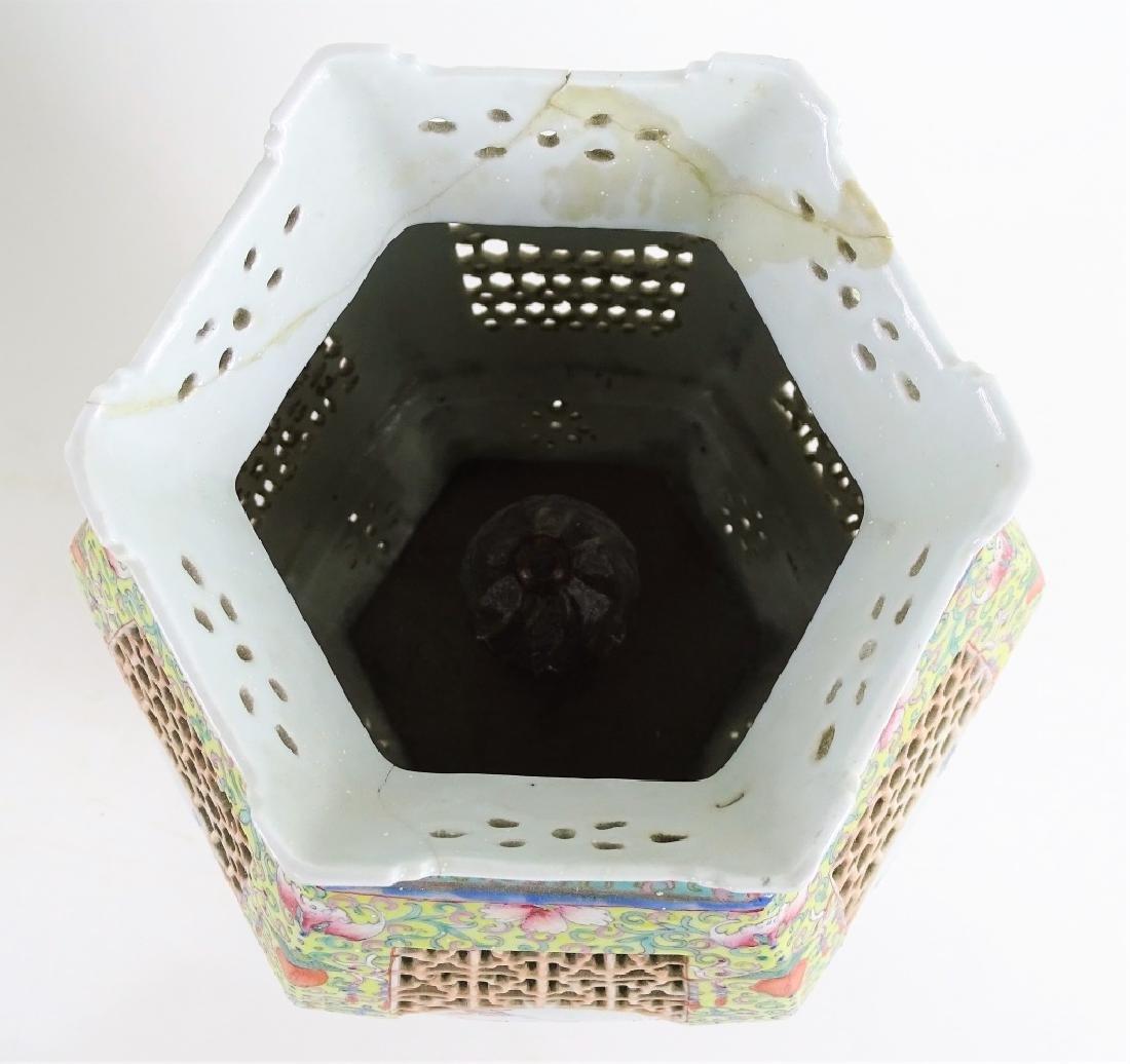 Chinese Hand Painted Hexagonal Porcelain Lanterns - 8