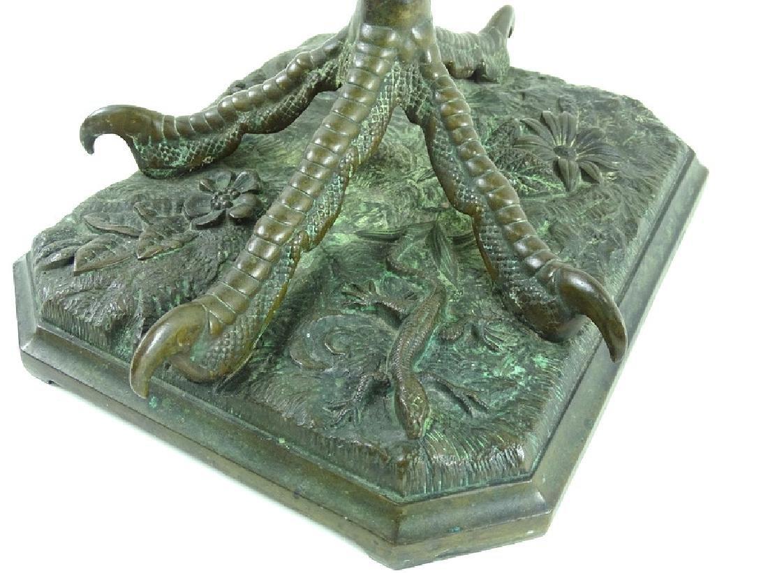 Antique Art Nouveau Bronze Crane Leg Pedestal - 5