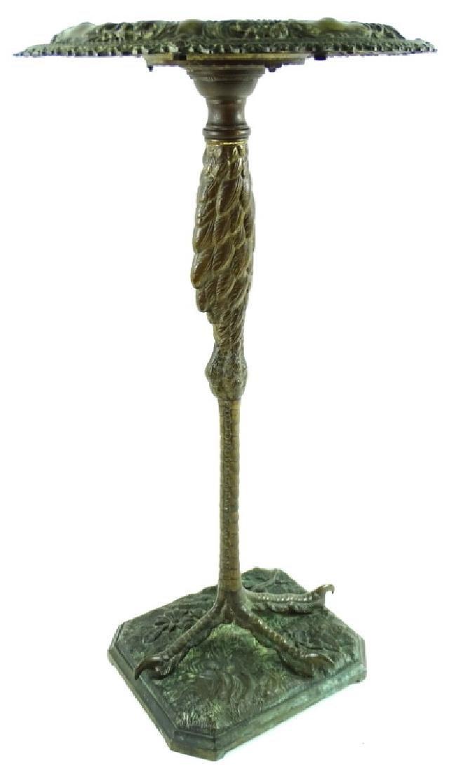 Antique Art Nouveau Bronze Crane Leg Pedestal - 9