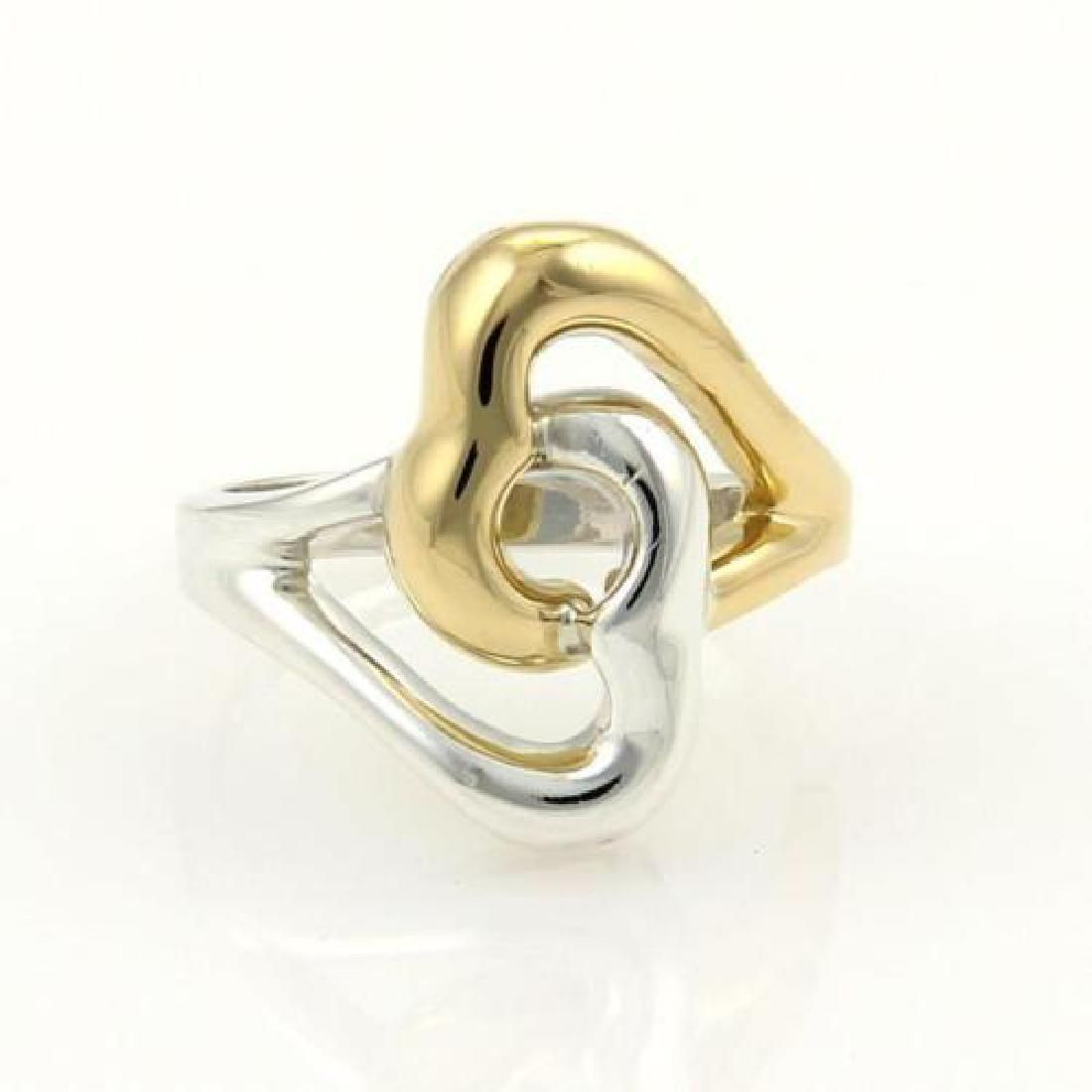Tiffany & Co. 18k Gold & Silver Double Heart Ring