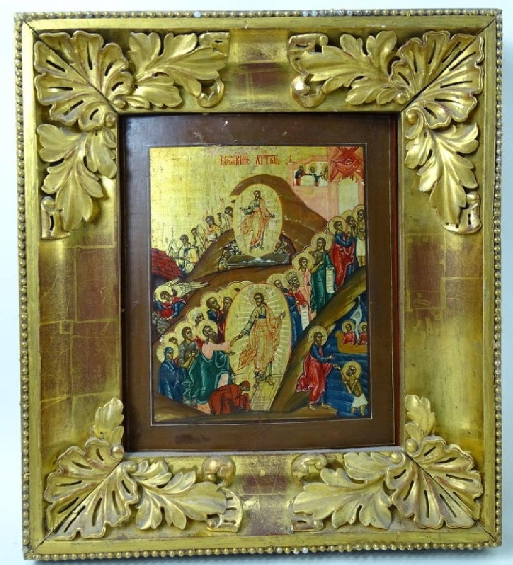19th C. Russian Icon Hand Painted On Board - 2