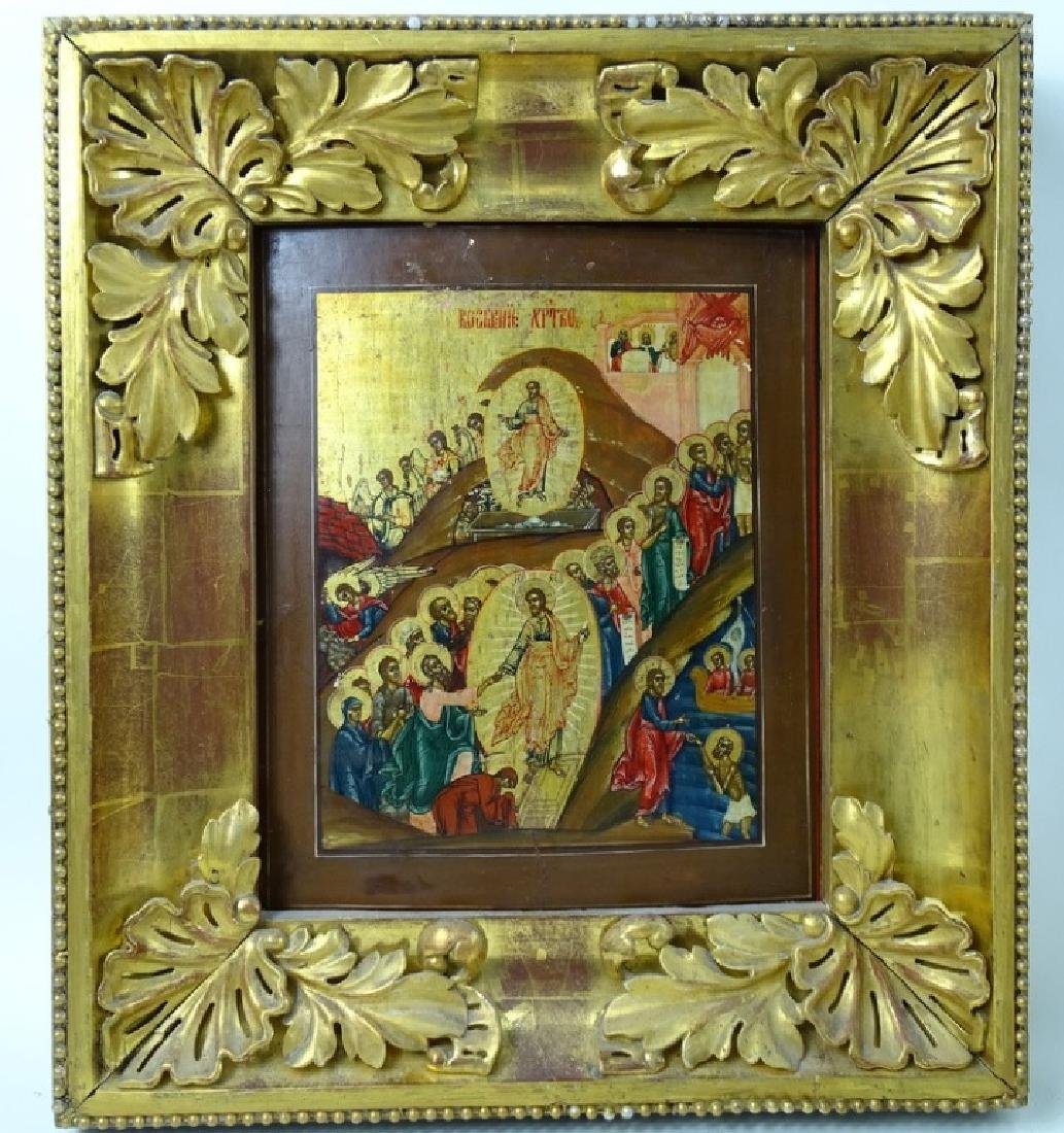 19th C. Russian Icon Hand Painted On Board - 3