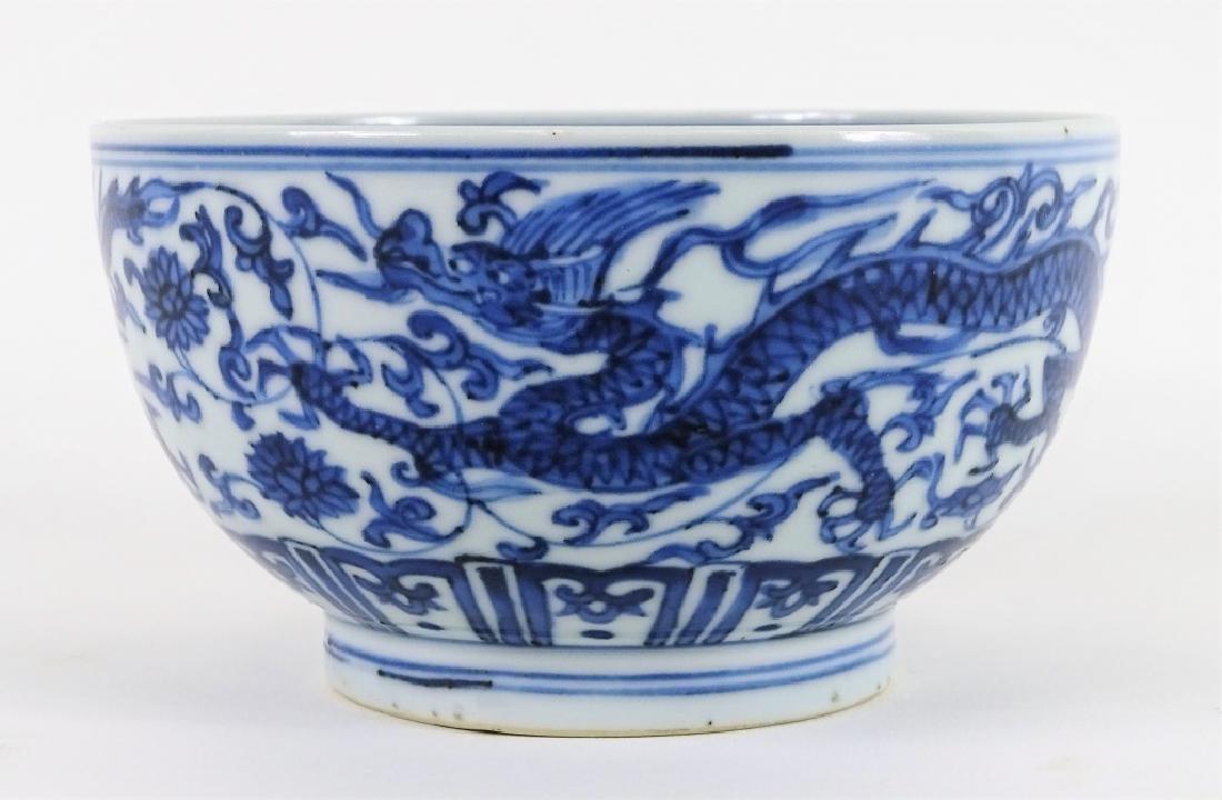 Antique Chinese Blue & White 5 Toe Dragon Bowl
