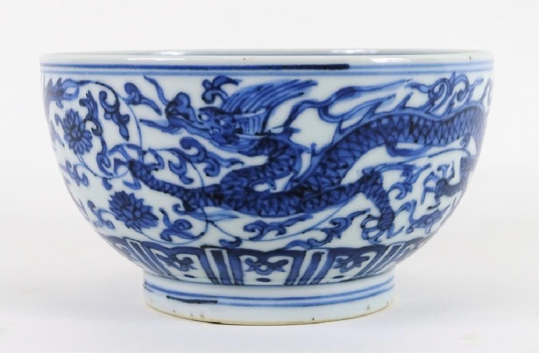 Antique Chinese Blue & White 5 Toe Dragon Bowl