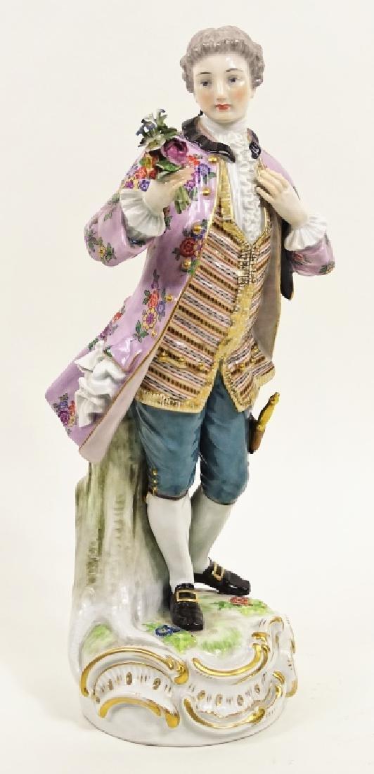 Large Meissen Porcelain Man With Bouquet Figurine