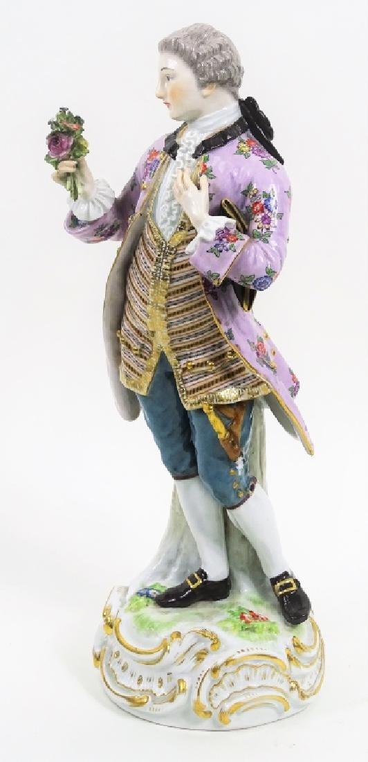 Large Meissen Porcelain Man With Bouquet Figurine - 2