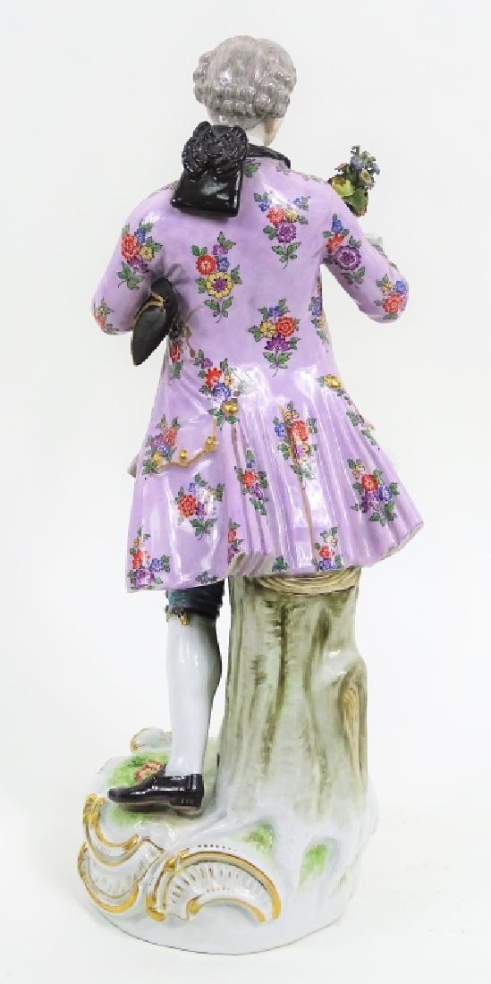 Large Meissen Porcelain Man With Bouquet Figurine - 3