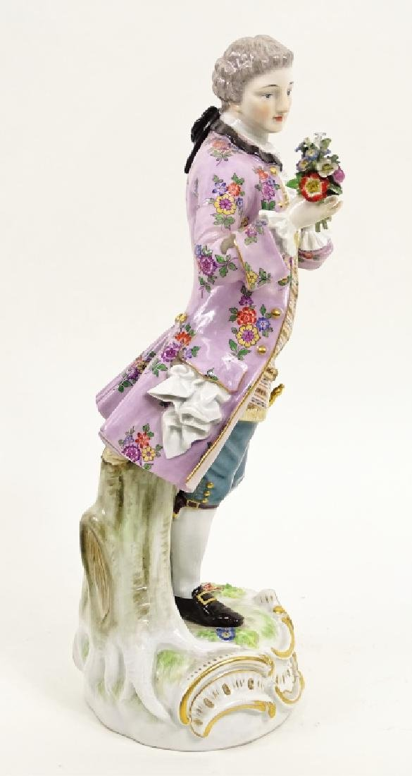Large Meissen Porcelain Man With Bouquet Figurine - 4