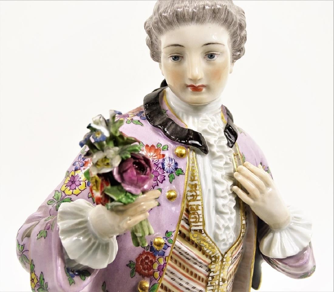 Large Meissen Porcelain Man With Bouquet Figurine - 9