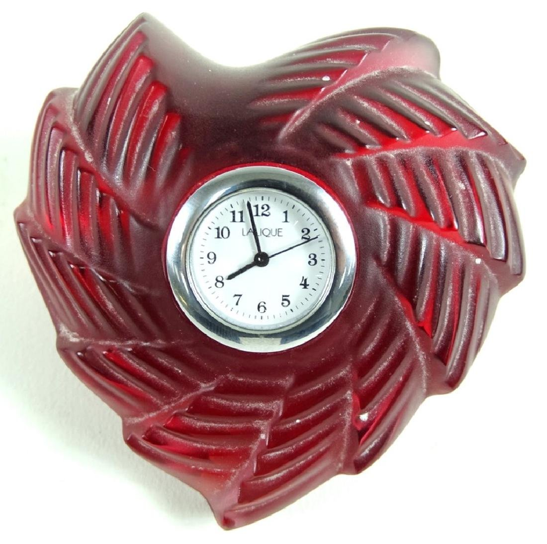 Lalique Patte de Verre Molded Crystal Heart Clock