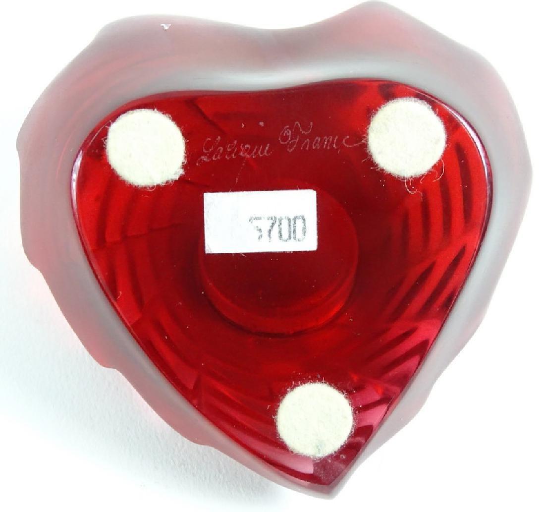 Lalique Patte de Verre Molded Crystal Heart Clock - 2